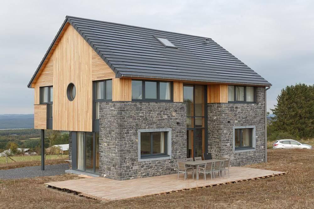 Maison passive en poteaux poutres hout info bois for Maison poteaux poutres